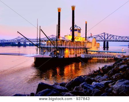 New Orleans River Boat at sunset