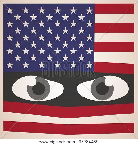 Angry Eyes with American Flag, Military Concept