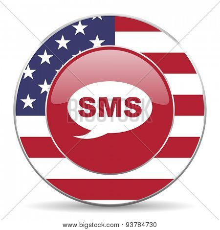 sms american icon original modern design for web and mobile app on white background