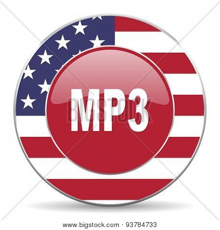 mp3 american icon original modern design for web and mobile app on white background