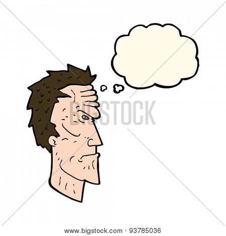 cartoon angry face with thought bubble