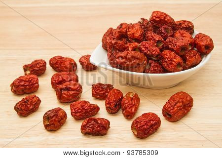 Dried Chinese Jujubes Fruits ,chinese Herbal Medicine On Table Background