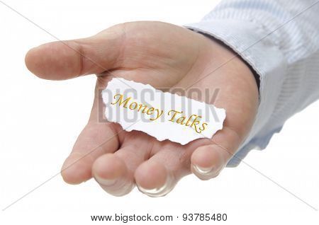 Business man holding commitment note on hand