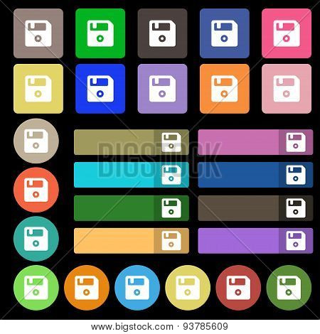 Floppy  Icon Sign. Set From Twenty Seven Multicolored Flat Buttons. Vector