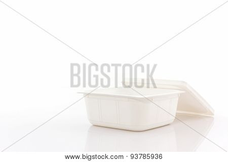 White Plastic Food Box On White Background.