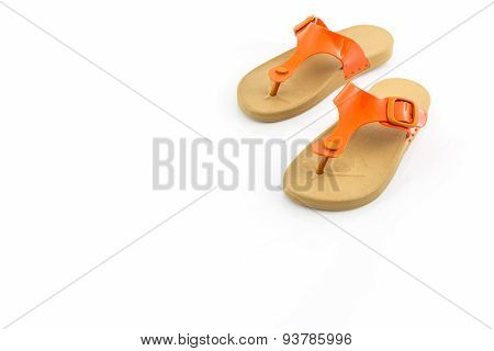 Colorful Of Sandals Shoes On White Background.