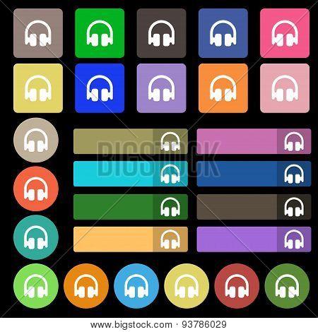 Headphones, Earphones  Icon Sign. Set From Twenty Seven Multicolored Flat Buttons. Vector
