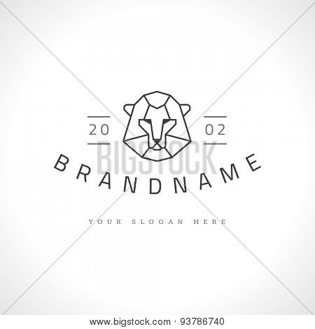Vintage lion face Line art logotype emblem symbol. Can be used for labels, badges, stickers, logos vector illustration.