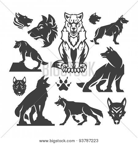 Set Wolfs vector illustrations.