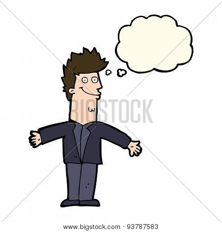 cartoon happy man with open arms with thought bubble
