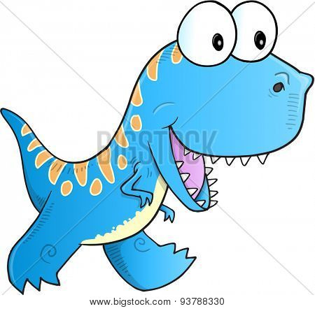 Cute Blue Dinosaur Vector illustration Art