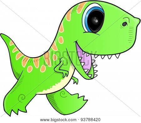 Cute Green Dinosaur Vector illustration Art