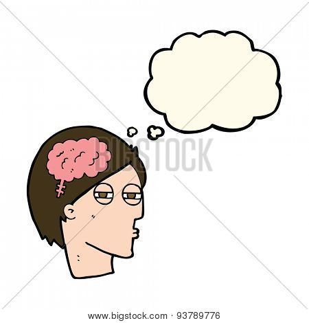 cartoon man thinking carefully with thought bubble