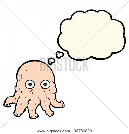cartoon alien squid face with thought bubble