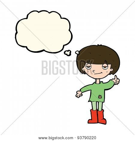 cartoon boy in poor clothing giving thumbs up symbol with thought bubble
