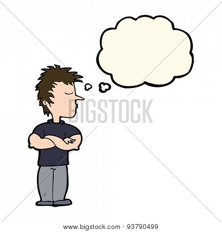 cartoon man refusing to listen with thought bubble