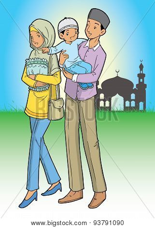 Asian muslim family and mosque