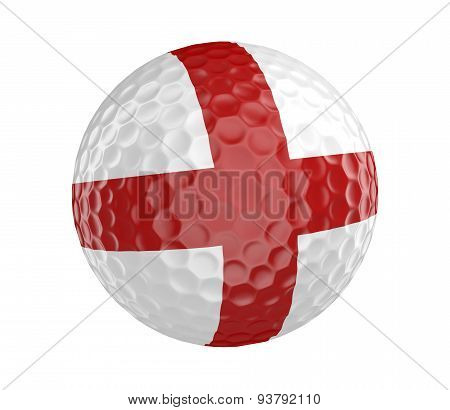 Golf ball 3D render with flag of England, isolated on white