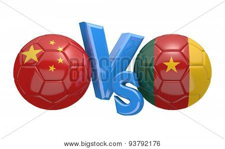 Football versus match, national teams China vs Cameroon