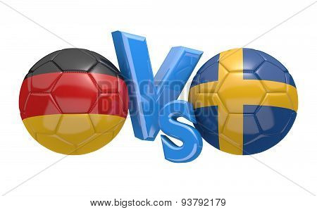 Football versus match, national teams Germany vs Sweden