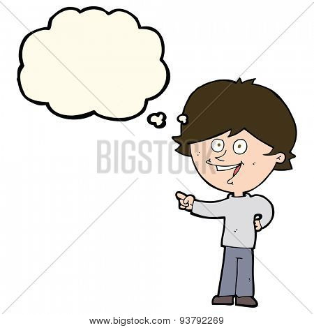 cartoon boy laughing and pointing with thought bubble