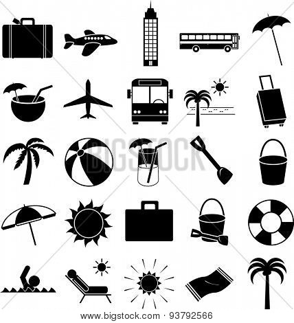 vacations symbols set