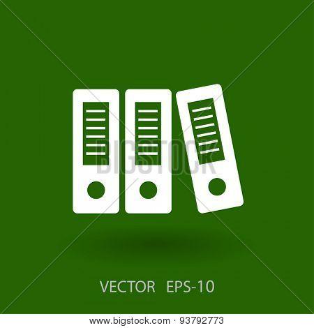Flat long shadow Row of binders icon, vector illustration