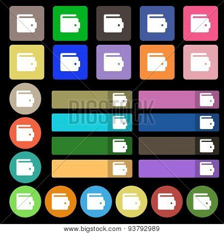 Purse Icon Sign. Set From Twenty Seven Multicolored Flat Buttons. Vector