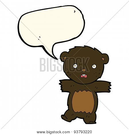 cartoon shocked black bear cub with thought bubble