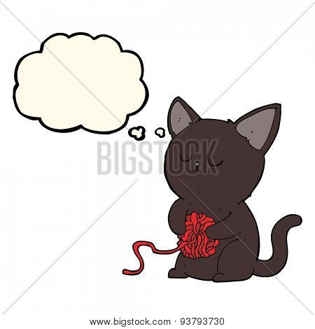 cartoon cute black cat playing with ball of yarn with thought bubble