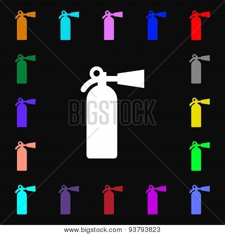 Fire Extinguisher Icon Sign. Lots Of Colorful Symbols For Your Design. Vector