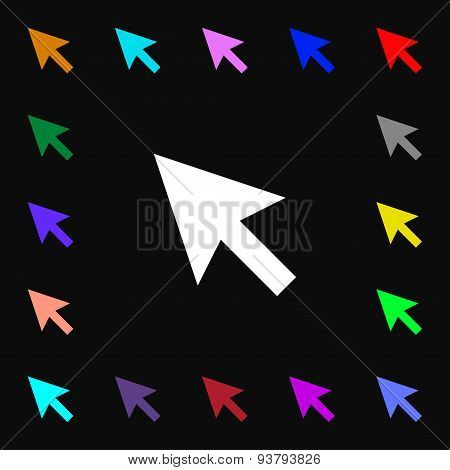 Arrow Cursor, Computer Mouse Icon Sign. Lots Of Colorful Symbols For Your Design. Vector