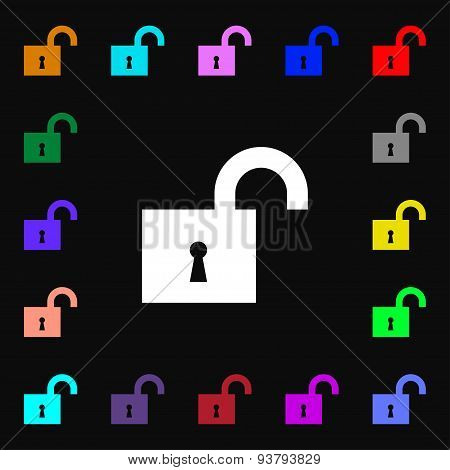 Open Lock Icon Sign. Lots Of Colorful Symbols For Your Design. Vector