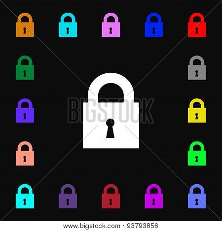 Closed Lock Icon Sign. Lots Of Colorful Symbols For Your Design. Vector
