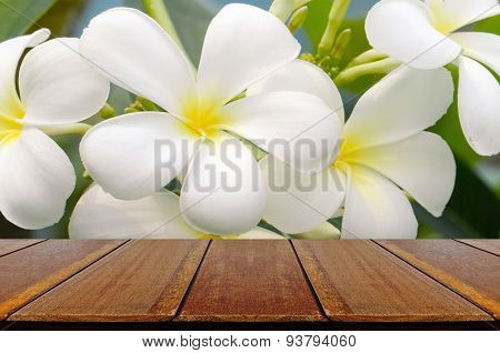 Empty Wood Table With Frangipani Background.