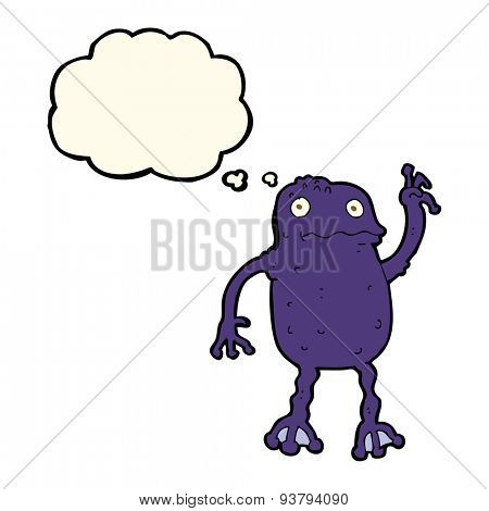 cartoon poisonous frog with thought bubble