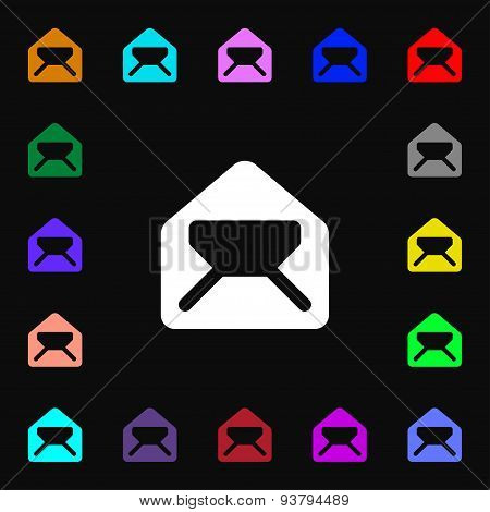 Mail, Envelope, Letter Icon Sign. Lots Of Colorful Symbols For Your Design. Vector