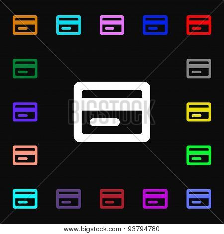 Credit Card Icon Sign. Lots Of Colorful Symbols For Your Design. Vector