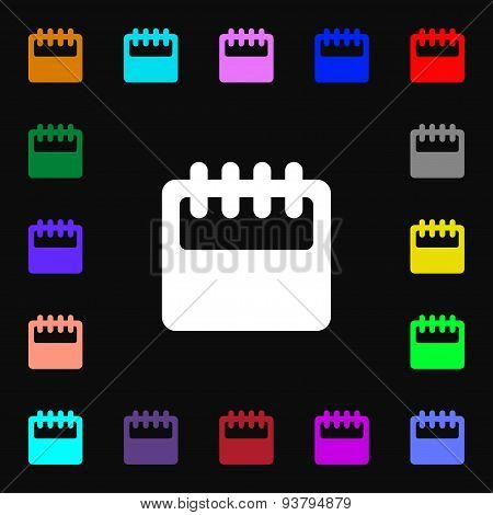 Notepad, Calendar Icon Sign. Lots Of Colorful Symbols For Your Design. Vector
