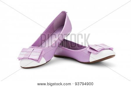 Pink ballet shoes on white -Clipping path