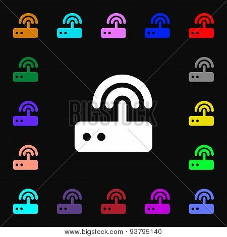 Wi Fi Router Icon Sign. Lots Of Colorful Symbols For Your Design. Vector