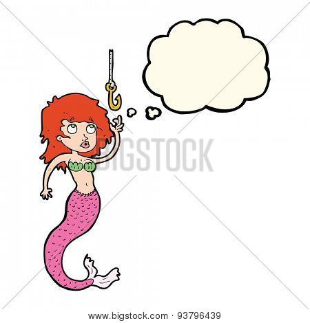 cartoon mermaid and fish hook with thought bubble