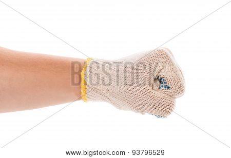 Worker hand glove clenching fist.