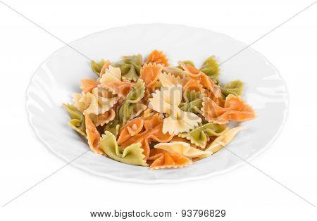 Pasta penne rigate on a plate.