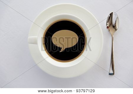 drinks, energetic, morning and communication concept - cup of black coffee with text bubble on surface, spoon and saucer on table