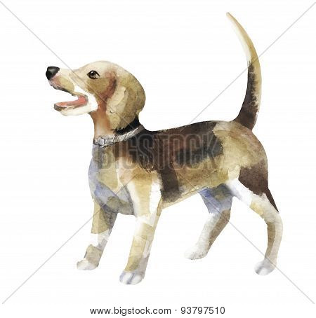 Watercolor small dog stand up and wag his tail