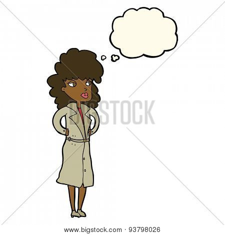 cartoon woman in trench coat with thought bubble