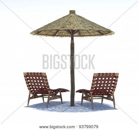 Parasol And Sun Beds On A Light Background
