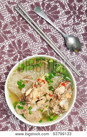 Mien ga or vietnamese vermicelli with chicken meat