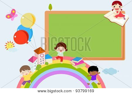 Kids and blackboard frame